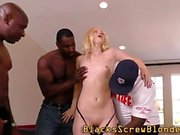 Blonde skank sucks bbc