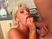 Mom makes him blow his load after a hard fuck