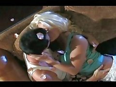 Blond Platin haarig Baby saugt und fickt Tief
