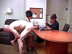 Fucked by two girls in the office