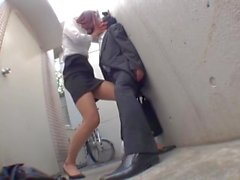 Desperate tall Japanese office lady drags you to the alley
