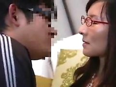 Sweet Asian chick with glasses fucks a hard cock and gets f