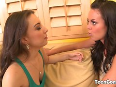 TEENGONZO Lesbians Alexis Rodriguez and babe pussy drilling