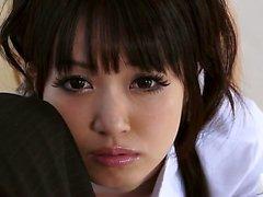 Kotomi in a schoolgirl uniform teaes her man by crawling