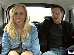 Blonde babe fucks in the car