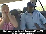 Amazing hot blonde babe with does blowjob for black guy in the car