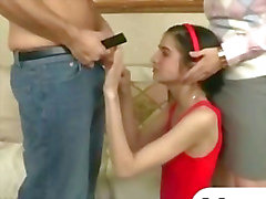 Teen and stepmom threesome with facial by thick wiener