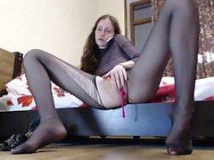 Voluptuosa masturbação nylon Donna Ambrose
