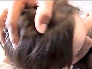 Tiny tits Amber Rayne deepthroats lots of big black cocks