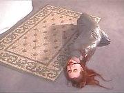 Mummified Bondage Babe In Silver Tape