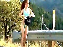 Nude in public jogging redhead Eliana from 1fuckdatecom