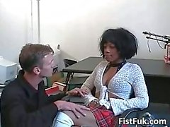 Hot ebony gets pussy fucked by a hard white cock