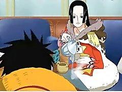 Boa Hancock baise avec Luffy ( une pièce )