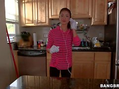 Cute latina maid Veronica Rodriguez bares it all