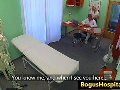 Nurse massaging patients big naturals