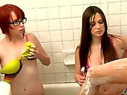 Pledges shaving sister in the bathroom and lesbian sex