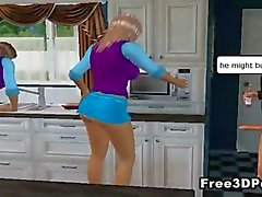 Sexy 3D cartoon babes getting fucked rond het huis