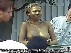 Subtitled public Japanese park statue prank covert sex