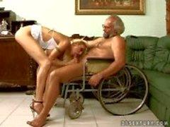 Heavy chested Trisha pleasures grandpa in wheelchair