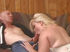 Chunky blonde gets her huge tits splashed