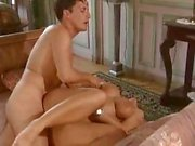 Busty brunette Sandra Brust munches on his wanker and gets drilled in the ass