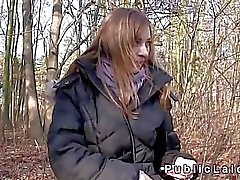 Czech beauty fucks for cash in woods