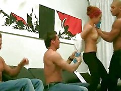 3 Russian studs persuade shy redhead to fuck