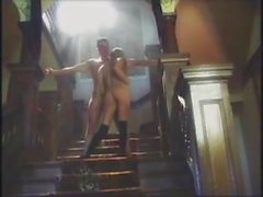 Art, blonde cutie fucked on stairway