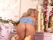 Masturbation of Blonde Chick in Pantyhose