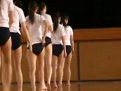 Pretty Asian teens strip down to their underwear after gym