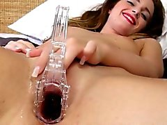 Gyno toy inside of her extreme vagina