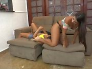 Mind-blowing mistress uses her slave's tongue for her ass