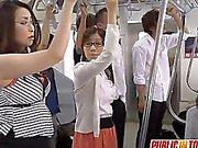Japanese MILF sucks dick in bus orgy