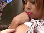 Tiny Ladyboy Schoolgirl Seduction and Bareback