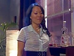 Brunette asian secretary gets her shaved putz nailed after work