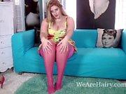 Chubby girl with hairy pussy masturbating