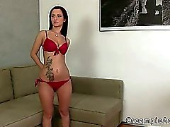 Hot amateur pussy creampied on couch