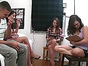 Teen girls playing with vibrator dick