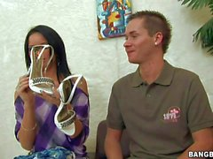 Slim euro chick Suzy Black pulls off Her jeans