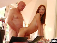 Redhead Susana jumps on a fat cock