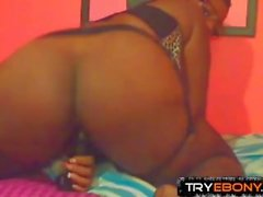 Sinful pierced ebony girl squirting her black pussy