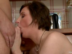 MILF Lara Latex Seduces Sons Buddy for Sex and Swallows Ejaculations Faciales