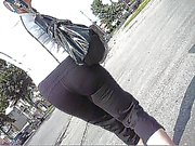 Voyeur Yoga pants walking on street