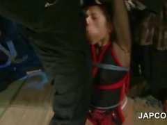 Tied up asian slave hardcore deep throated in gangbang