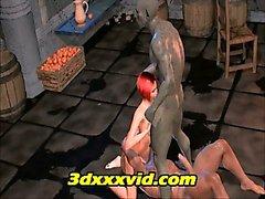 3D анимационный Монстр групповуха двойной сеанс