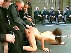Slim babe abused in public sex orgy with nasty double penetration and deepthroat sex