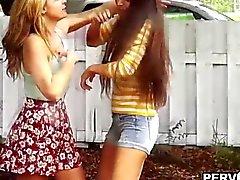 Voyeur bangs a lesbian teen after her break up