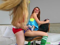 Petite muffdiving teens trio with bigcock