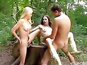 Amateur Threesome In The Woods