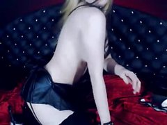 Stunning Goth Webcam Girl Strips Naked And Masturbates